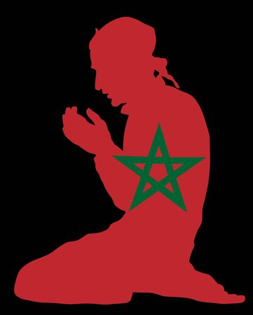 Pose of Muslim man praying vector silhouette illustration isolated on background. Muslim from Morocco national flag symbol theme.  Islamic religion faithful. Believer in mosque. Standard-Bild - 128224083