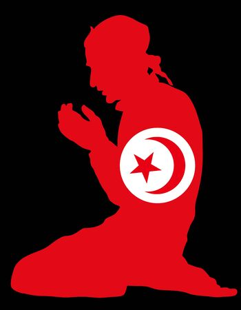 Pose of Muslim man praying vector silhouette illustration isolated on background. Muslim from Tunisia national flag symbol theme. Islamic religion faithful. Believer in mosque. Ilustração