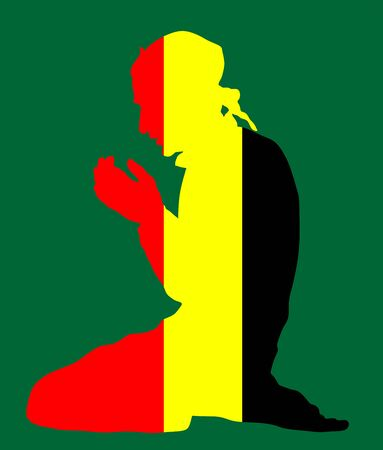 Pose of Muslim man praying vector silhouette illustration isolated on background. Muslim from Belgium national flag symbol theme. Islamic religion faithful. Believer in mosque. Standard-Bild - 128224095