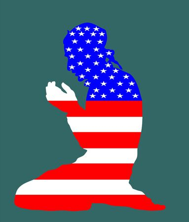 Pose of Muslim man praying vector silhouette illustration isolated on background. Muslim from United States of America national flag symbol theme. Loyal Muslim migrant citizen in America. Иллюстрация