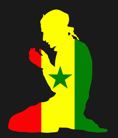 western town: Islamic religion. Pose of Muslim man praying vector silhouette illustration isolated on background Muslim from Senegal national flag symbol theme. Loyal Muslim migrant citizen in Europe.