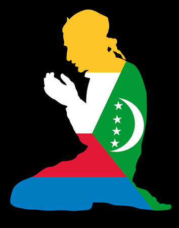 Islamic religion. Pose of Muslim man praying vector silhouette illustration isolated on background Muslim from Comoros national flag symbol theme. Loyal Muslim migrant citizen in Europe.