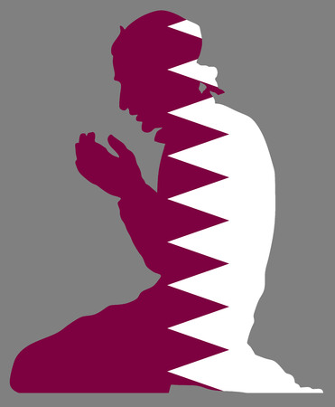 Pose of man praying silhouette illustration isolated on. Qatar national flag symbol theme. Loyal in Europe.