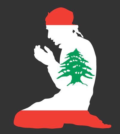 Islamic religion. Pose of Muslim man praying vector silhouette illustration isolated on background Muslim from Lebanon national flag symbol theme. Loyal Muslim migrant citizen in Europe or USA.  イラスト・ベクター素材