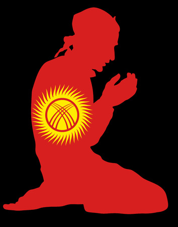 national flag indonesian flag: Islamic religion. Pose of muslim man praying vector silhouette illustration isolated on background Muslim from Kyrgyzstan national flag symbol theme. Loyal muslim migrant citizen in  European country. Illustration