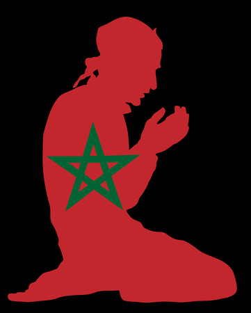 kingdom of god: Islamic religion. Pose of muslim man praying vector silhouette illustration isolated on background. Muslim from Morocco national flag symbol theme. Loyal muslim migrant citizen in  European country.