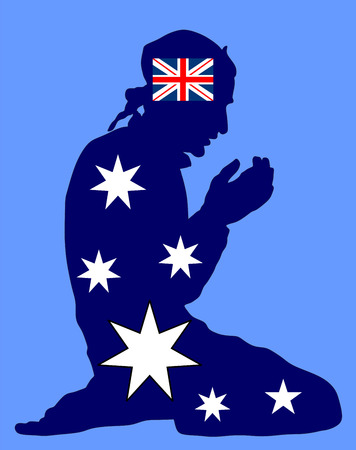 australian culture: Islamic religion. Pose of muslim man praying vector silhouette illustration isolated on background. Muslim from Australia national flag symbol theme. Loyal muslim migrant citizen in  European country.