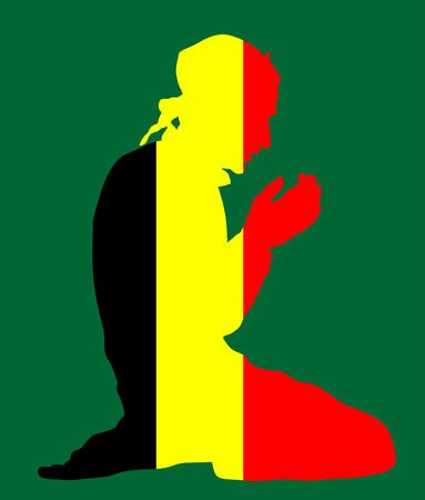 national identity: Islamic religion. Pose of muslim man praying vector silhouette illustration isolated on background. Muslim from Belgium national flag symbol theme. Loyal muslim migrant citizen in  European country.