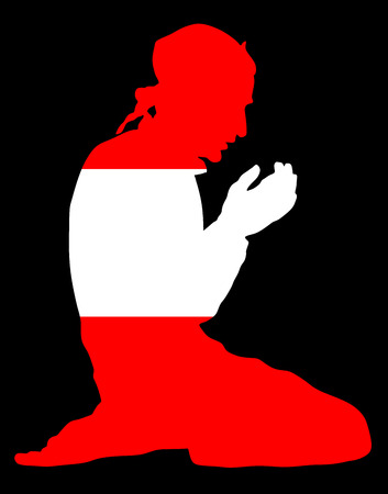 Islamic religion. Pose of Muslim man praying vector silhouette illustration isolated on background Muslim from Austria national flag symbol theme. Loyal Muslim migrant citizen in  Europe.