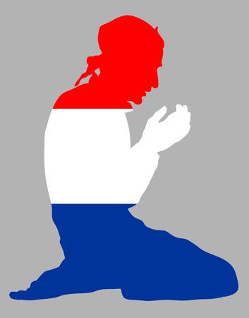 Islamitische godsdienst. Stelt van de Moslim man bidden vector silhouet illustratie op een achtergrond moslim uit Nederland, Holand nationale vlag symbool thema. Trouwe Moslim migrant burger in Europa.