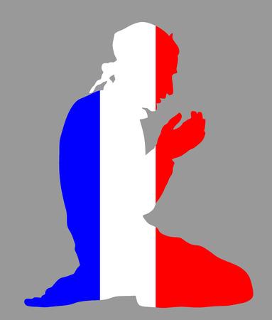 イスラムの宗教。フランス国旗のシンボル テーマからイスラム教徒の背景に分離されたベクトル シルエット イラストを祈るイスラム教徒の男性のポーズします。ヨーロッパやアメリカで忠実なイスラム教徒移民市民。