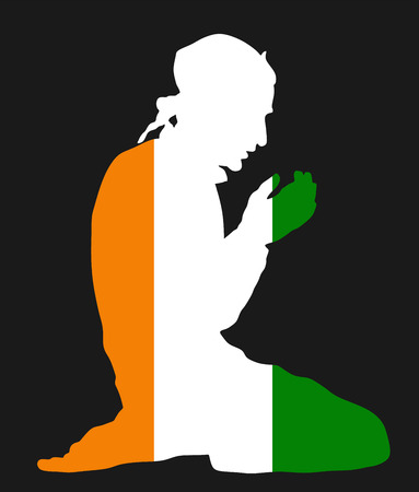 Islamic religion. Pose of Muslim man praying vector silhouette illustration isolated on background Muslim from Ivory Coast national flag symbol theme. Loyal Muslim migrant citizen in  Europe.