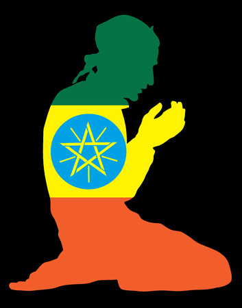 national flag ethiopia: Islamic religion. Pose of Muslim man praying vector silhouette illustration isolated on background Muslim from Ethiopia national flag symbol theme. Loyal Muslim migrant citizen in  Europe.