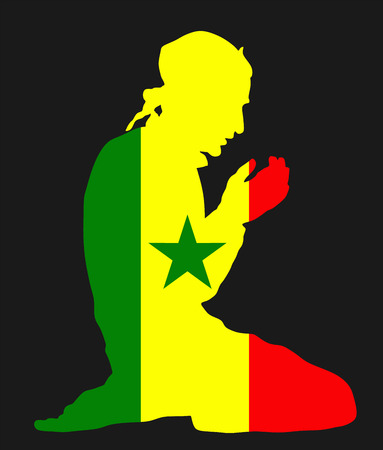 gambia: Islamic religion. Pose of Muslim man praying vector silhouette illustration isolated on background Muslim from Senegal national flag symbol theme. Loyal Muslim migrant citizen in  Europe.