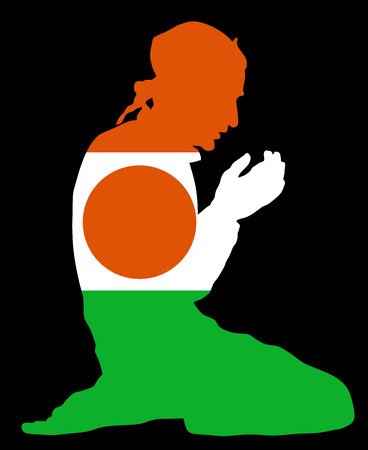 Islamic religion. Pose of Muslim man praying vector silhouette illustration isolated on background Muslim from Republic of Niger national flag symbol theme. Loyal Muslim migrant citizen in  Europe.