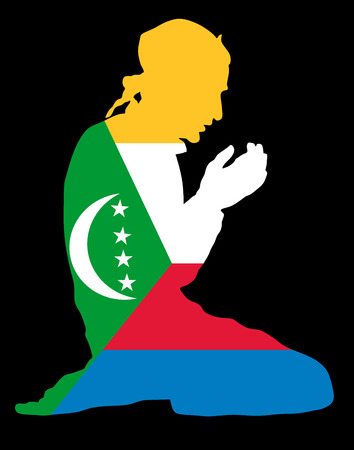 national flag indonesian flag: Islamic religion. Pose of Muslim man praying vector silhouette illustration isolated on background Muslim from Comoros national flag symbol theme. Loyal Muslim migrant citizen in  Europe.