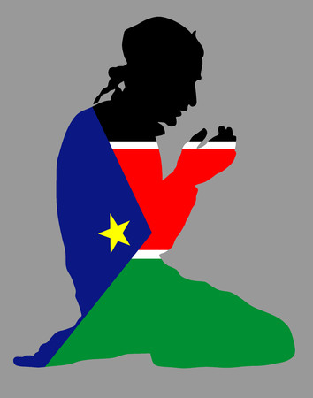 Islamic religion. Pose of Muslim man praying vector silhouette illustration isolated on background Muslim from South Sudan national flag symbol theme. Loyal Muslim migrant citizen in  Europe.