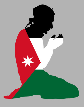 Islamic religion. Pose of Muslim man praying vector silhouette illustration isolated on background Muslim from Jordan national flag symbol theme. Loyal Muslim migrant citizen in  Europe or USA.