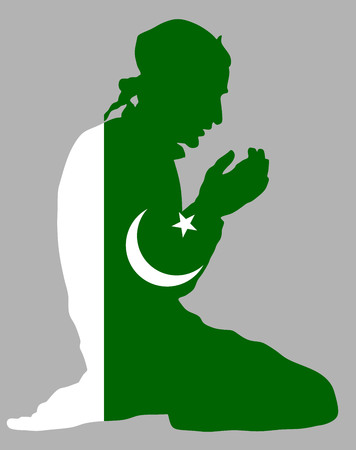 flag of pakistan: Islamic religion. Pose of Muslim man praying vector silhouette illustration isolated on background Muslim from Pakistan national flag symbol theme. Loyal Muslim migrant citizen in  Europe.