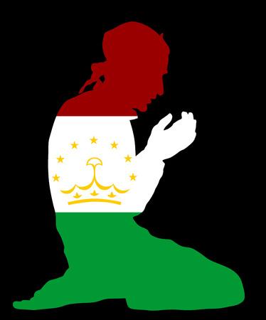 イスラムの宗教。タジキスタンの国旗シンボル テーマからイスラム教徒の背景に分離されたベクトル シルエット イラストを祈るイスラム教徒の男性のポーズします。ヨーロッパで忠実なイスラム教徒移民市民。