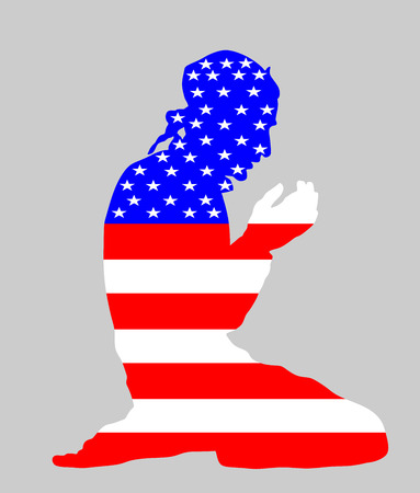 Islamic religion. Pose of muslim man praying vector silhouette illustration isolated on background Muslim from United States of America national flag symbol theme. Loyal muslim migrant citizen.