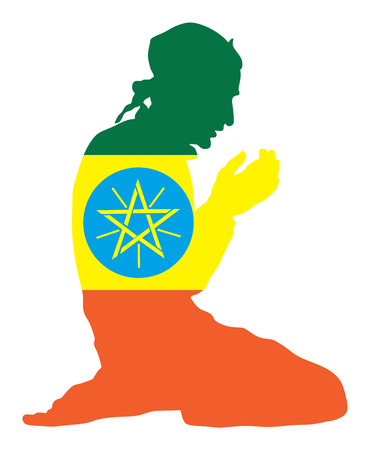 Islamic religion. Pose of Muslim man praying vector silhouette illustration isolated on background Muslim from Ethiopia national flag symbol theme. Loyal Muslim migrant citizen in Europe.