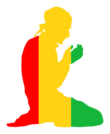 Islamic religion. Pose of Muslim man praying vector silhouette illustration isolated on background Muslim from Guinea national flag symbol theme. Loyal Muslim migrant citizen in Europe. Illustration