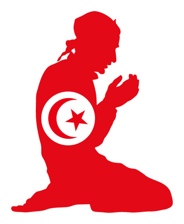 Pose of Muslim man praying vector silhouette illustration isolated on background. Muslim from Tunisia national flag symbol theme.