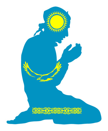 Islamic religion. Pose of muslim man praying vector silhouette illustration isolated on background Muslim from Kazakhstan national flag symbol theme. Loyal muslim migrant citizen in Europe country. Illustration
