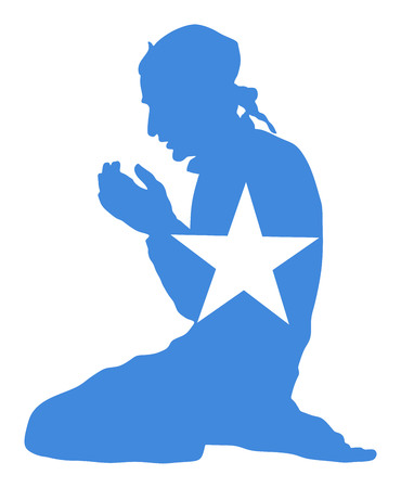 Pose of Muslim man praying vector silhouette illustration isolated on background. Muslim from Somalia national flag symbol theme. Illustration