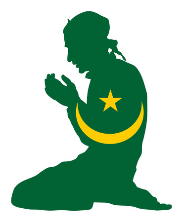 Islamic religion. Pose of muslim man praying vector silhouette illustration isolated on background Muslim from Mauritania national flag symbol theme. Loyal muslim migrant citizen in European country. 일러스트