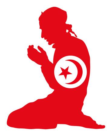 イスラムの宗教。背景に分離されたベクトル シルエット イラストを祈るイスラム教徒の男性のポーズします。イスラム教徒のチュニジア国旗シンボル テーマから。ヨーロッパの国の忠実なイスラム教徒移民市民。
