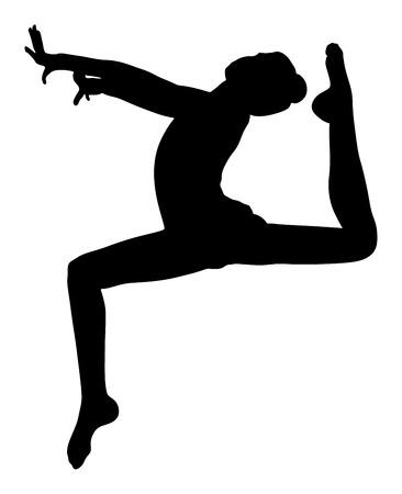 Atleet vrouw in de sportschool te oefenen. Ballet meisje vector figuur geïsoleerd op een witte achtergrond. Zwart silhouet illustratie van de gymnastiek vrouw. Ritmische Gymnastiek vector. Stock Illustratie
