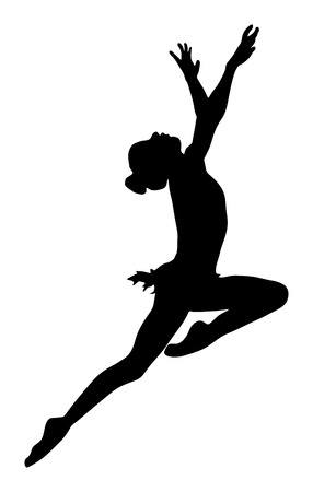 beauty contest: Athlete woman in gym exercise. Ballet girl vector figure isolated on white background. Black silhouette illustration of gymnastic woman. Rhythmic Gymnastics vector.