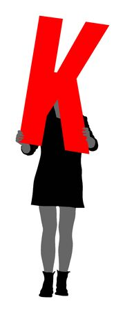 Handsome woman holding the letter K, vector silhouette illustration. Editable colors. Words making letter by letter. Learning alphabet, back to the school. Teacher carry class. Marketing commercial.