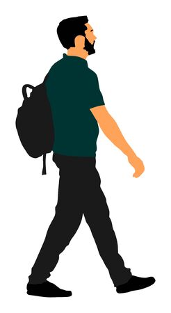Tourist man with backpack vector illustration isolated on white background. Male passenger walking. Urban traveler. Travel boy walking. Student go to university. Stock Illustratie