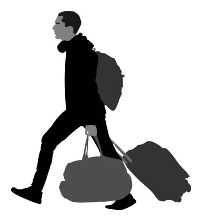 Tourist man traveler carrying his rolling suitcase vector silhouette illustration isolated on white background. Tourist with backpack isolated. Man passenger walking traveling. Boy with baggage travel
