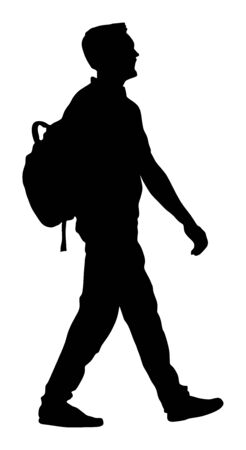 Tourist man with backpack vector silhouette illustration isolated on white background. Male passenger walking. Urban traveler. Travel boy walking.