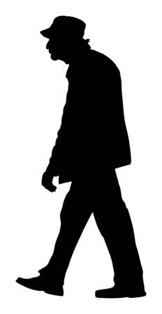 Old man person walking vector silhouette illustration. Senior mature outdoor. old grandfather go to hospital. People active life. Person walking. Grandpa silhouette vector.