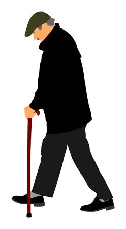 Happy elderly senior walking alone vector isolated on white . Old man person with stick. Mature old people active life. Grandfather outdoor in park. Health care in nursing home. Loneliness  worried.