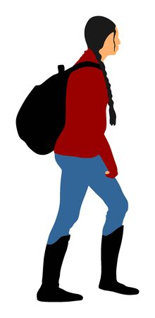 Passenger woman with luggage walking to airport vector illustration. Traveler girl with backpack go home. Lady carry baggage. Tourist with heavy cargo load waiting hiking on holiday. Refugee on border