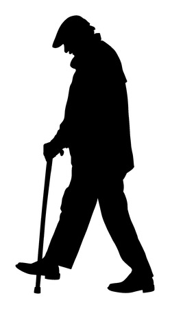 older men: Old man person walking with stick. Vector character isolated on white background. Senior mature, old people active life. Old man person walking with stick. Grandpa vector silhouette. Illustration
