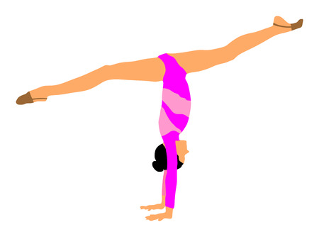 costume ball: Athlete woman in gym exercise. Ballet girl vector figure isolated on white background. Silhouette illustration of gymnastic woman. Rhythmic Gymnastics vector.