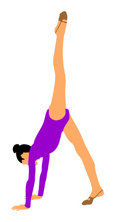 stage costume: Athlete woman in gym exercise. Ballet girl vector figure isolated on white background. Silhouette illustration of gymnastic woman. Rhythmic Gymnastics vector.