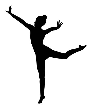 Ballet girl vector silhouette figure performance isolated on white background. Gymnastic woman. Rhythmic Gymnastics lady vector. Ballet dancer. Athlete woman in gym exercise. Çizim