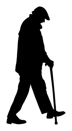 Old man person walking with stick. Vector character isolated on white background. Senior mature, old people active life. Old man person walking with stick. Grandpa vector silhouette. Vettoriali