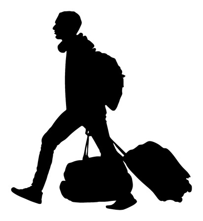 migrant: Tourist man traveler carrying his rolling suitcase vector silhouette illustration isolated on white background.Tourist with many bags isolated. Man passenger with backpack waiting taxi for travel.