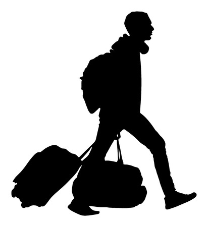 Tourist man traveler carrying his rolling suitcase vector silhouette illustration isolated on white background.Tourist with many bags isolated. Man passenger with backpack waiting taxi for travel.