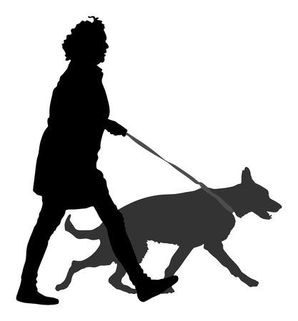 所有者の女の子と街を歩いて犬。犬ベクトル シルエット イラストと一緒に歩いている女性。白い背景上に分離。