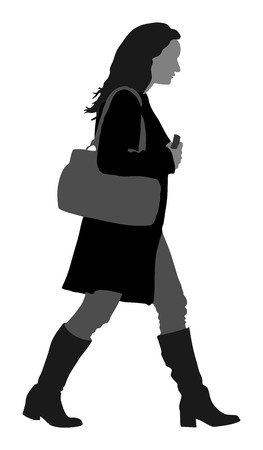 Business woman walking vector silhouette illustration isolated on white background.